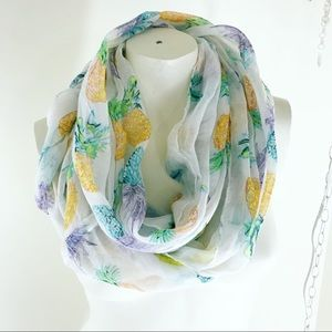Tropical Pineapple Infinity Scarf White New